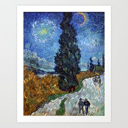 Vincent van Gogh - Road with Cypress and Star Art Print