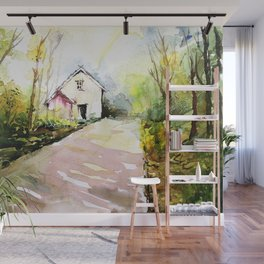Beautiful Cottage Garden Painting Wall Mural