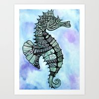 tatoo Art Prints featuring Tatoo Seahorse by PepperDsArt
