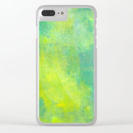Green and Yellow Abstract Clear iPhone Case