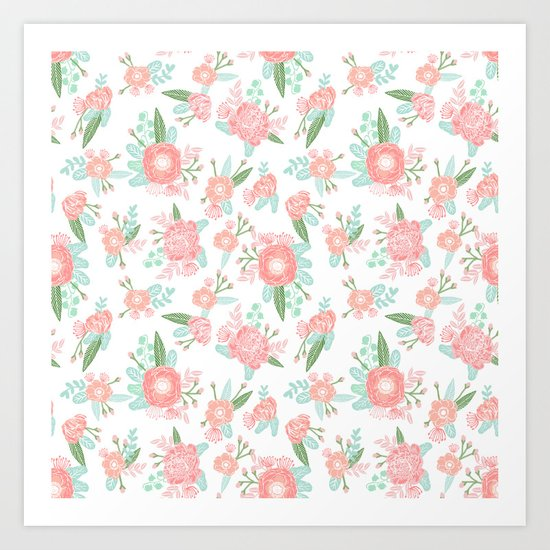 Florals floral pattern minimal basic trendy bouquet spring summer nursery decor Art Print