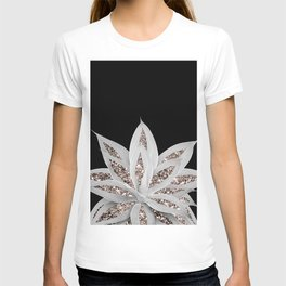 Gray Agave with Rose Gold Glitter #2 #shiny #tropical #decor #art #society6 T-shirt