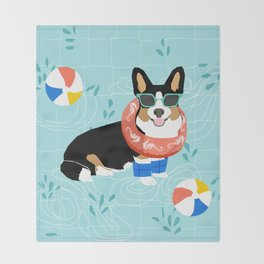 Tricolored Corgi Pool Party - cute corgi dog design pool party summer beach ball dog costume dogs Throw Blanket