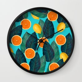 Oranges And Lemons On Teal Wall Clock