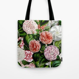 Vintage & Shabby Chic Green Large Dark Floral Camellia  Flowers Watercolor Pattern Tote Bag