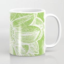 White Flower On Lime Green Crayon Coffee Mug