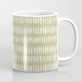 Cream on Earthy Green Parable to 2020 Color of the Year Back to Nature Bold Grunge Vertical Stripes Coffee Mug