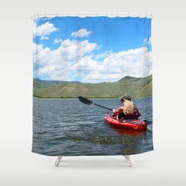 Watercolor People in Nature Woman Kayaker 01, The Sky's the Limit Shower Curtain
