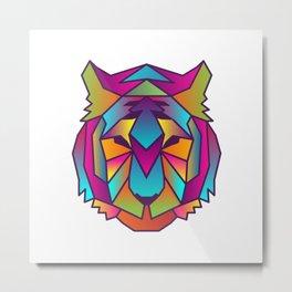 Tiger | Geometric Colorful Low Poly Animal Set Metal Print