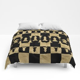Chess Pieces Pattern - black and gold Comforters