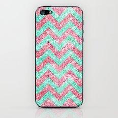 Chevron Pattern, pink & teal glitter photo print iPhone & iPod Skin
