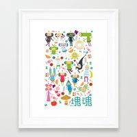 katamari Framed Art Prints featuring KATAMARI DAMACY by Erin Lowe