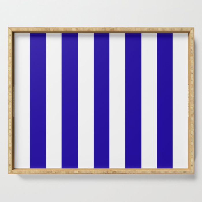 Neon blue - solid color - white vertical lines pattern Serving Tray