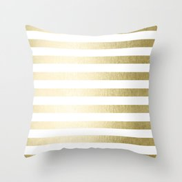 Simply Striped Gilded Palace Gold Throw Pillow