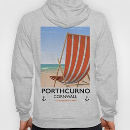 Porthcurno Cornwall vintage vacation poster. Hoody