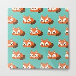 Sleeping Fox Print - Teal Metal Print
