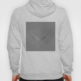 Monstera Palm Leaves in Line work | sketch in black and white colors Hoody