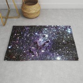 The Eagle Nebula : Pillars of Creation Deep Dark Blues & Purples Rug
