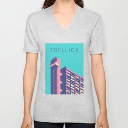 Trellick Tower London Brutalist Architecture - Text Sky Unisex V-Neck