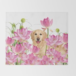Labrador Retrievers with Lotos Flower Throw Blanket