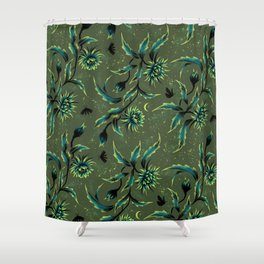 Queen of the Night - Green Shower Curtain
