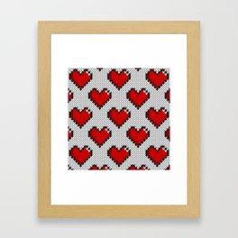Knitted heart pattern - white Framed Art Print