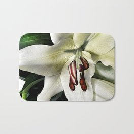 White lily vintage flower Bath Mat