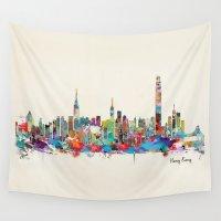 hong kong Wall Tapestries featuring Hong Kong skyline by bri.buckley
