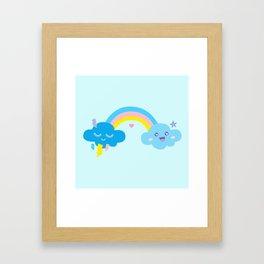 rainbow clouds sky cute kawaii Framed Art Print