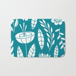 Blooming Field - teal Bath Mat