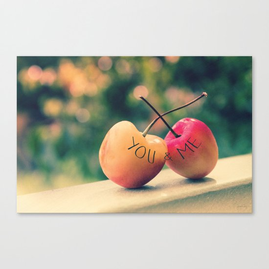 You & Me (Rainier Cherries with Green Bokeh Background) Canvas Print