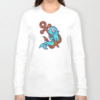 anchors Long Sleeve T-shirts featuring Anchors Aweigh by Artistic Dyslexia
