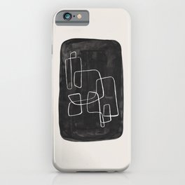 EnShape by Ejaaz Haniff Mid Century Maze Line Drawing Black & White Abstract Pattern Organic Shapes iPhone Case