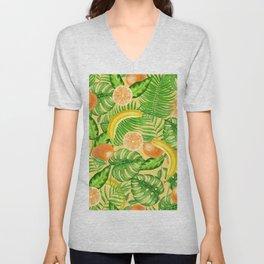 Tangerines, bananas and tropical leaves Unisex V-Neck
