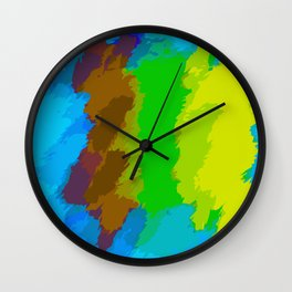 blue brown green and yellow painting abstract background Wall Clock