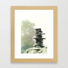 West Coast Inukshuk In A Summer Fog  #decor #society6 #buyart Framed Art Print