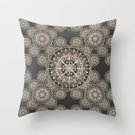 Pewter and Rose-Gold Patterned Mandalas Throw Pillow