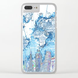world map city skyline 5 Clear iPhone Case