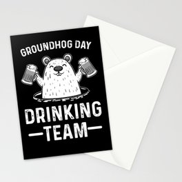 Happy Groundhog Day Drinking Team Shadow Animal Stationery Cards