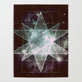 Galaxy Sacred Geometry : Stellated Icoshadron dark Poster