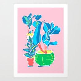 Perky Plants - Pink Blue Multi Art Print