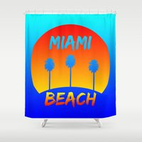 miami Shower Curtains featuring Miami by Chris Hardie