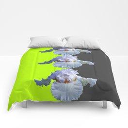 MODERN WHITE IRIS DIVIDED CHARTREUSE & GREY ART Comforters