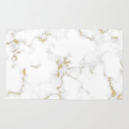 Fine Gold Marble Natural Stone Gold Metallic Veining White Quartz Rug