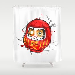 Daruma Digital Drawing, Japanese Art, Watercolor, Daruma Print Shower Curtain