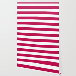 Pictorial carmine - solid color - white stripes pattern Wallpaper