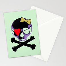 Purple skull heart with bow Stationery Cards
