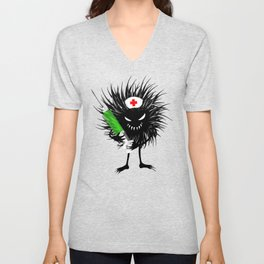 Evil Bug Nurse With Syringe Unisex V-Neck