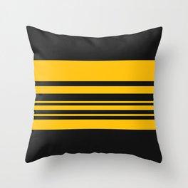 Yellow stripes on black Throw Pillow