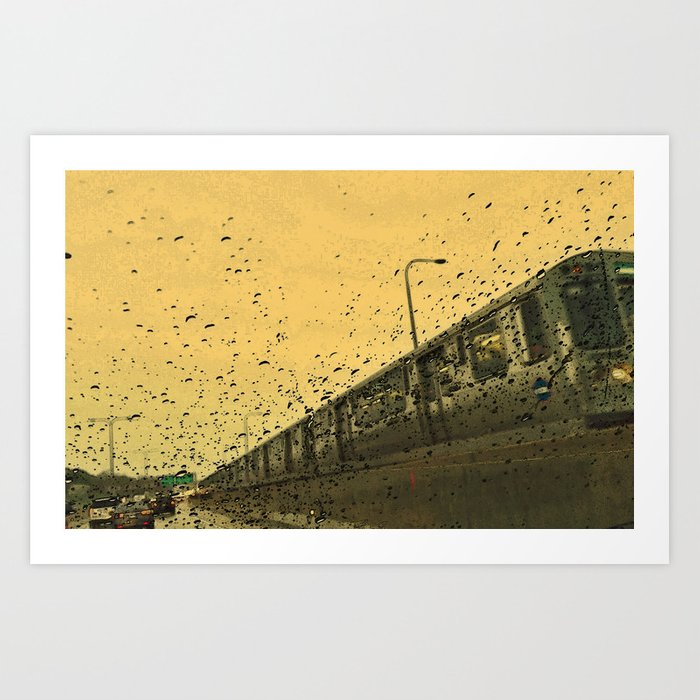 Rainy Day El Train Art Print